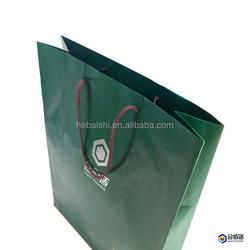 green paper Folding fashion gift bag for wine shopping