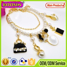 Kids artificial hand made freshwater pearl bracelet/hanging clothes and shoes charm bracelet /#31448