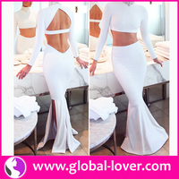 New stylish white long sleeve backless tight ladies party dresses