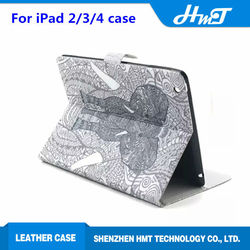 Cute popular wallet case with stand leather flip case for iPad 2/3/4