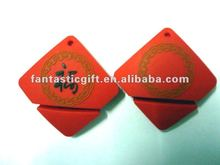 red lucky square shape USB drives,PVC material USB gifts,USB memory sticks