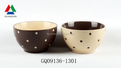 500ml painting ceramic bowls with dots design and cheap sale