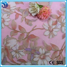 New popular Rayon nylon burnt out floral printing Woven organza fabric