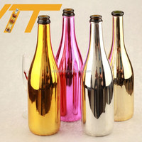 Wholesale champagne bottles black champagne bottle gold glass bottle