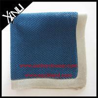 Ecru Border Blue Ground Silk Knitted Pocket Square Silk