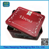 Red Large Printed candy sugar tin case metal oblong cookie packaging box Grocery storage tin box with lock