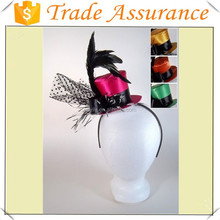 Mini Fancy Neon Top Hat on Headband Black Band Feather Womens Costume Accessory
