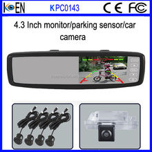 CE RoHS Clip On 4.3 Inch Monitor Ultrasonic Car Parking Sensor System For Renault