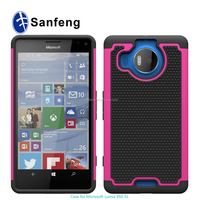 Hot pink pc+black silicone cell phone cover for Lumia microsoft nokia 950 950XL mobile case