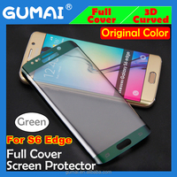 orginal green color full cover 3d curved s6 edge tempered glass screen protector for samsung galaxy