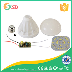 2015 New styley CE RHOHS E27 b22 e17 high lumen 270 degree 3w to 12w led bulb housing parts plastic led bulb light accessories