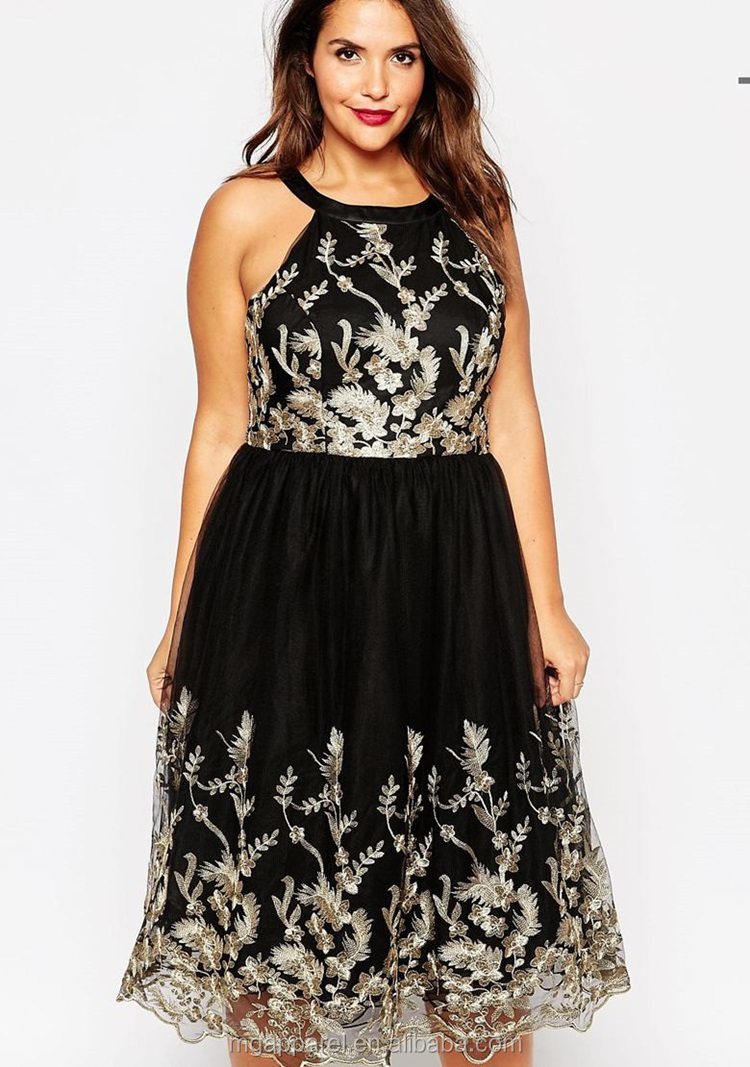 Wholesale Party Dresses For Fat Girls Plus Size Embroidered Lace ...