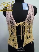 YJC08742 china factory fashionable cotton crochet new design mix colour vest lace