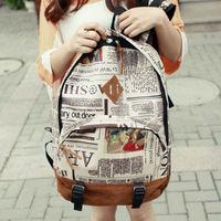 New Fashion Unisex Newspaper Design Print Backpacks School Shoulder Bag