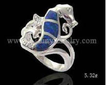 Sea Life K5 Blue 925 Sterling Silver Opal Ring