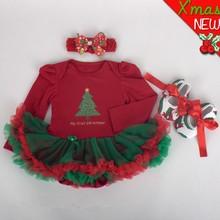 L-5846-3 Christmas gift baby 3pcs headband +tutu+shoes baby lovely clothing set 2015