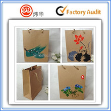 2015 Chinese style painting kraft paper bag with ribbon