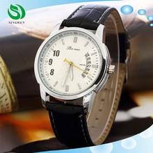 Luxury Brand Leather Analog Display Date Men's Quartz Casual Men Wristwatch