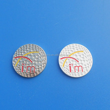 golf shape round metal ball marker logo sticker promotion