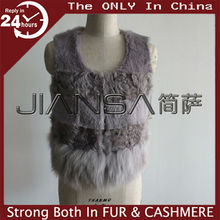 LJ14015 Latest women rabbit fur combined with lamb fur short vest