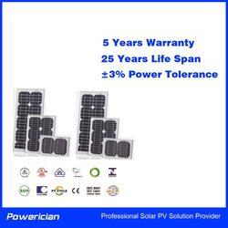 Powerician Mono Solar Modules Monocrystalline Silicon PV Panel 50Wp 12V Home System Power Supplier