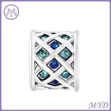 Aquamarine Blue Crystal Knitting Drum Charm bead