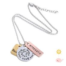s>>>>New Arrival Believe Coin Necklace Long Chains Hand Stamped Charms Necklace Round Pendant necklace for /women gift jewelry/