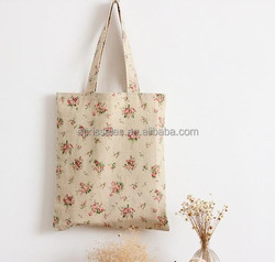 Floral cotton and linen cloth handbags one shoulder female package leisure shopping bag