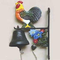 antique decorative rooster cast iron hanging garden bell