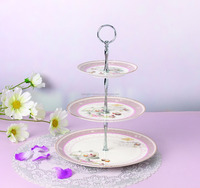 Pretty bone china 3 layer cake stand dessert plate fruit dish wholesale from Alibaba