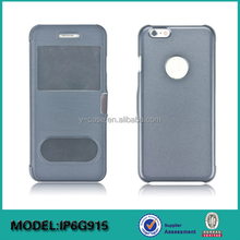 New design hot sale leather cellphone cover with transparent window for iPhone 6 or for iPhone 6 Plus