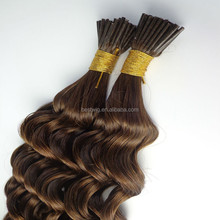 1g/0.8g/0.5g/strand i tip hair extensions kinky curly/i tip 100% virgin european i tip human hair extension
