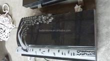 Shanxi Black Granite Flower Carving upright tombstone