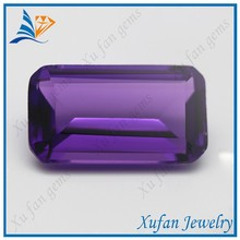 Wuzhou cheap baguette shape synthetic crystal amethyst