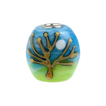 Wholesale Blue Sky & Tree Paint Murano Glass Bead with 925 Sterling Silver Tube For European Bracelets