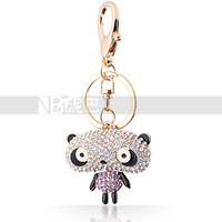 Gold Plated Exaggerated Design Animal Key Chain Lovely Big Head Panda Crystal Accessories Present