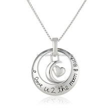 925 sterling silver I Love U 2 The Moon and Back disc pendant necklace