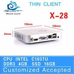 X-28 intel c1037u 4gb ram 16gb ssd thin client linux Fan Mini PC Desktop computer case