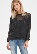 2015 hotsale Rose Embroidered woman T Shirt chiffon lady t shirt