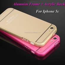 Alumnim metal frame and Acrylic back cover phone cases for apple iphone 5c