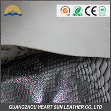 2015 hot sell crocodile grain PU leather for lady shoes