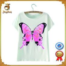 New Arrival 2015 Fashion 100% Cotton Women Custom T Shirt