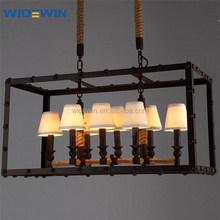fabric lamp vintage restaurant/coffee shop indoor decoration chandelier hemp rope large 4/8 lights pendant lamps