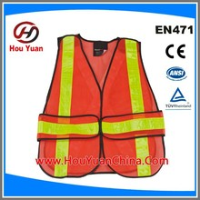 Reflective Safety Vest meet ANSI/ISEA 2010 standard,100%polyester 110G Mesh and PVC Tapes, Velcro Adjust, Manufactory Supply