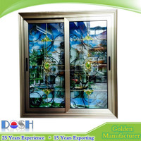 champagne colour house sliding window single or double glass with 304 stainless steel mosquito net