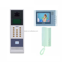 Color video door phone for buildings with keypad and ID cards to unlock