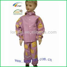 PU waterproof customized kids clear plastic rain suit good quality&red rain suit