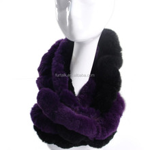 Real Rabbit Fur Warps Muffler Scarf Infinity Fur Scarf for Women