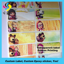 Crystal PVC Printing Water Bottle Labels