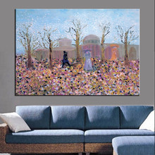 Unique handmade trees flowers people saying hello canvas oil painting